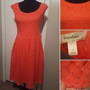 Dress Barn Coral Lace Dress w/ Scallop Hemline